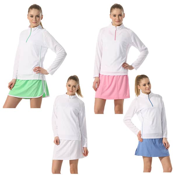 Ladies Boast Tek w/ Logo - Mock Half-Zip Long Sleeve The Tennis Loft Nantucket